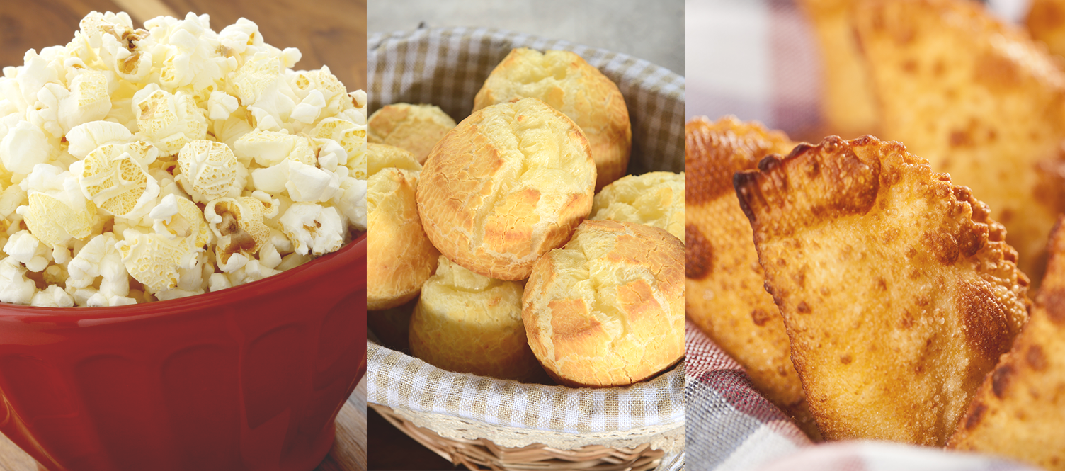 pasteis e paes de queijo para piquenique