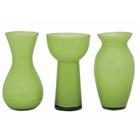 Conjunto de 3 vasos sortidos pequenos - verde