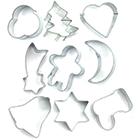 Conjunto de 9 Cortadores de Biscoitos Variados Fackelmann em Aço Inox – Prata