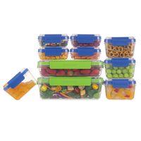 Conjunto de 10 Potes Progressive em Plástico - Linha Snap Lock - Transparente / Verde / Azul